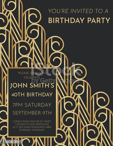 Art deco style Birthday Invite with copy space. Black and gold design.