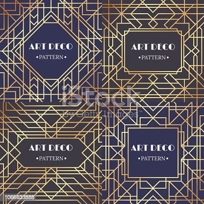 Art deco border. Glamour pattern retro party frames background, decorative borders or gatsby gold angular corner luxury frame, victorian elegant decoration ornament. Retro backdrop vector set