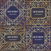 Art deco border. Glamour pattern retro party frames background, decorative borders or gatsby gold angular corner luxury frame, victorian elegant decoration ornament. Retro backdrop vector set