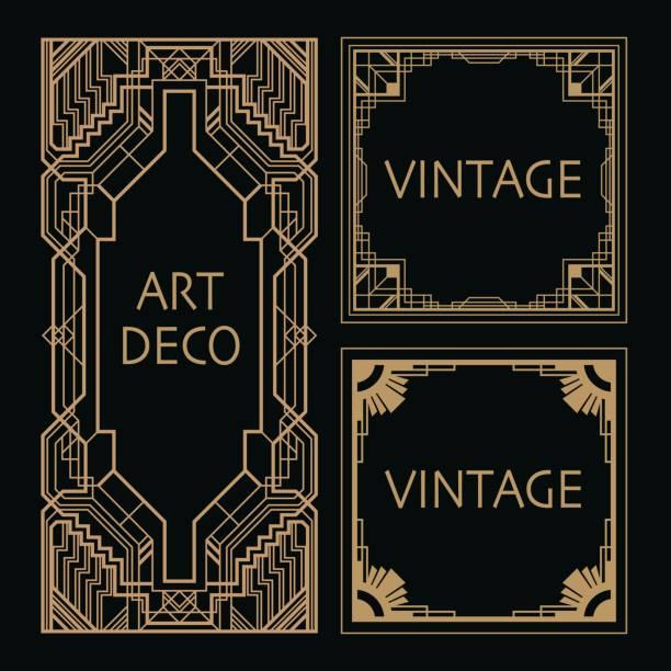 art deco border - art deco stock illustrations, clip art, cartoons, & icons