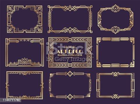 Art deco borders. 1920s golden frames, nouveau fancy decorative elements for vintage posters. Vector art deco ornament framed design set