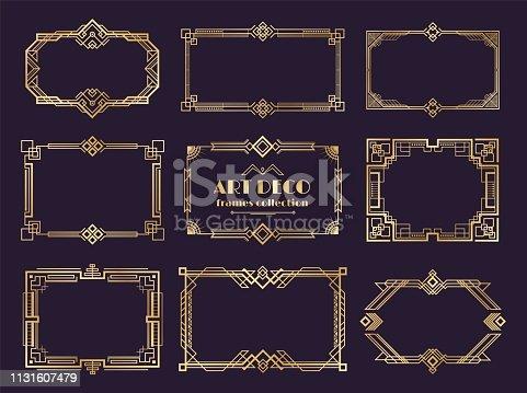 Art deco borders set. Golden 1920s frames, nouveau luxury geometric style, abstract vintage ornament. Vector art deco elements
