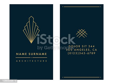 Art Deco Business Card Template on the White Background