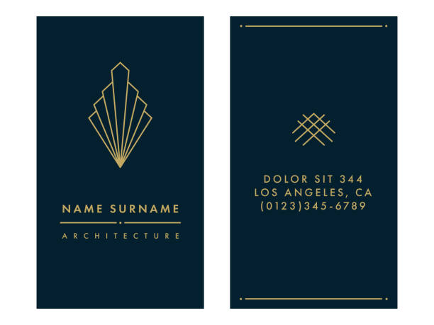 art deco business card template - architecture borders stock illustrations