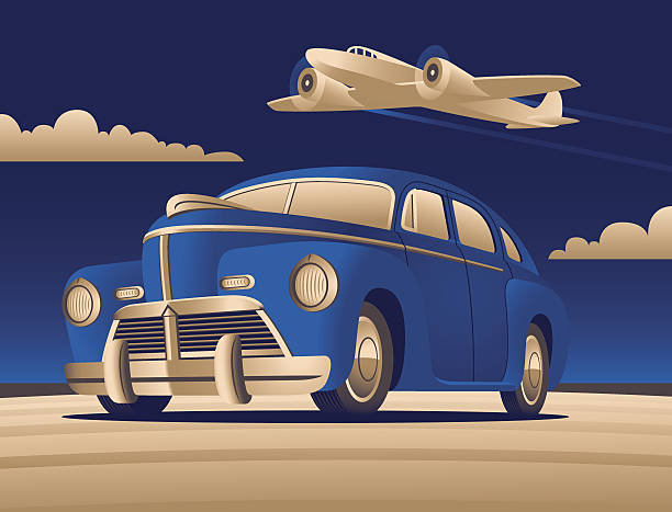 art deco car and plane - 1940s style stock illustrations