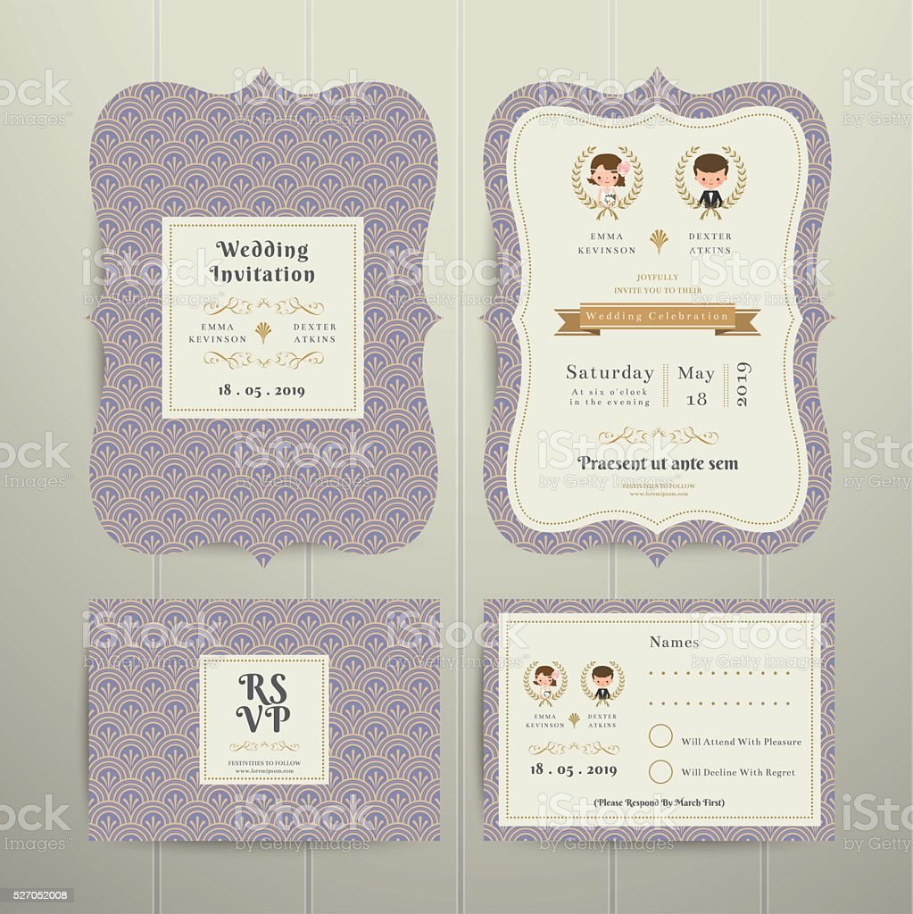 Art Deco Cartoon Couple Wedding Invitation Card Rsvp Set Lavender ...