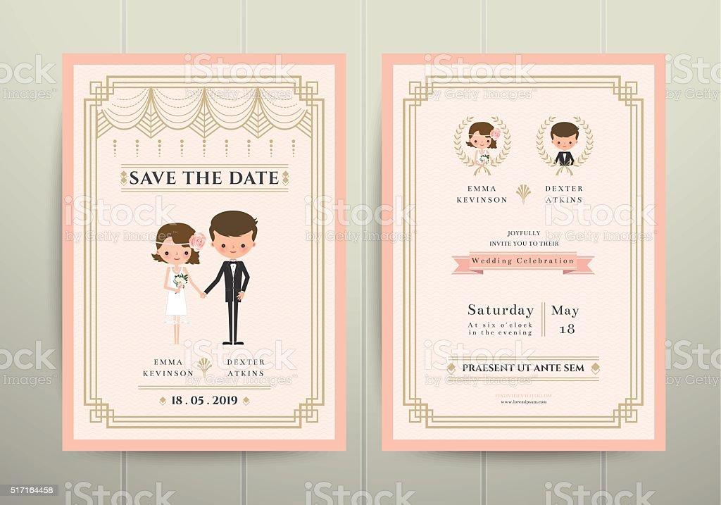Art Deco Cartoon Couple Wedding Invitation Card Stock Illustration