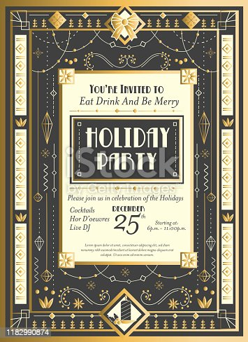 Vector illustration of an Art Deco Christmas Invitation design template with detailed ornaments and beads. Includes placement text. Retro Holiday party elements. Easy to edit or customize with layers. EPS 10.