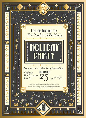 Art Deco Christmas Invitation design template with detailed ornaments and beads