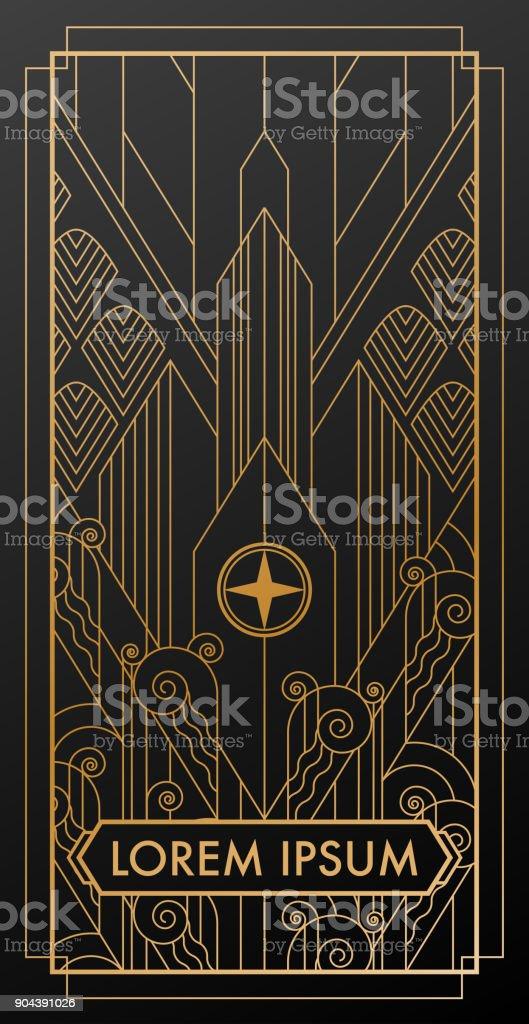 art deco city gold invitation