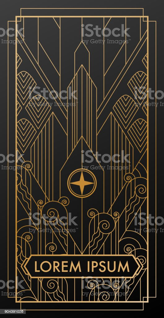 art deco city gold invitation vector art illustration