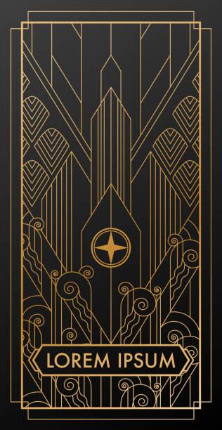 art deco city gold invitation - art deco stock illustrations, clip art, cartoons, & icons