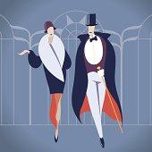 Art deco couple vector illustration