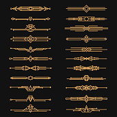 Art deco dividers and decorative golden headers. Victorian flowers, book and interior ornament. Vector flat style cartoon illustration on black background