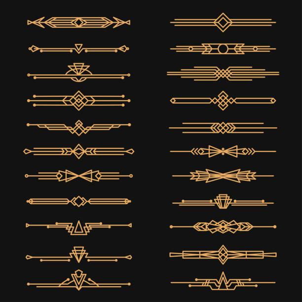 art deco dividers and decorative golden headers - book borders stock illustrations