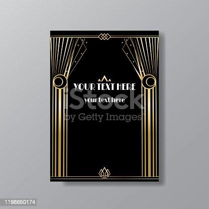 istock Art Deco elegant page template, Gatsby style for web and print, with moon sun and stars vintage pattern 1198650174