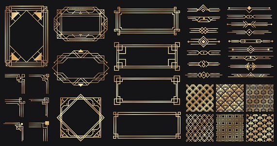 Art deco elements set. Creative golden borders and frames. Dividers and headers for luxury or premium design