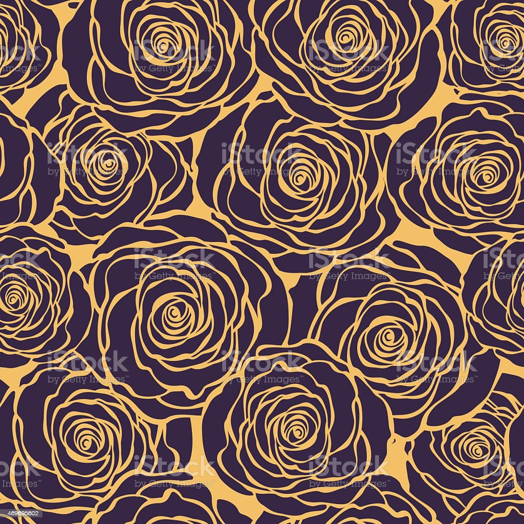 Art Deco floral seamless pattern with roses vector art illustration