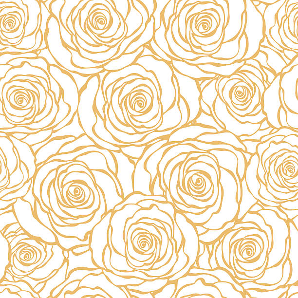 Art Deco floral seamless pattern with roses. vector art illustration
