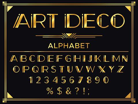 Art deco font. Golden 1920s decorative letters, vintage fashion typography and old gold alphabet vector set