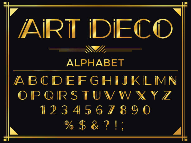 Art deco font. Golden 1920s decorative letters, vintage fashion typography and old gold alphabet vector set Art deco font. Golden 1920s decorative letters, vintage fashion typography and old gold alphabet. Deco letter and numbers, gold luxury gatsby font or royal abc vector set alphabet borders stock illustrations