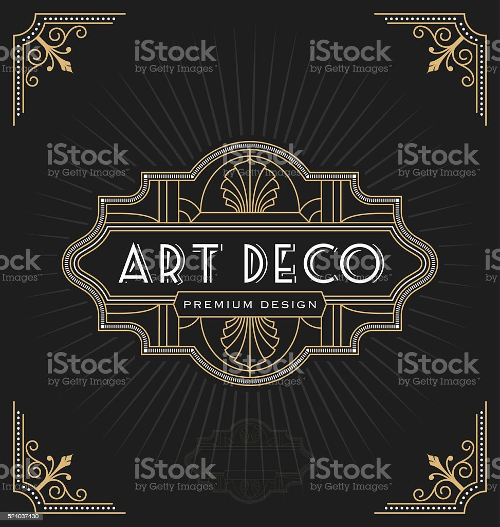 Art deco frame and label design vector art illustration