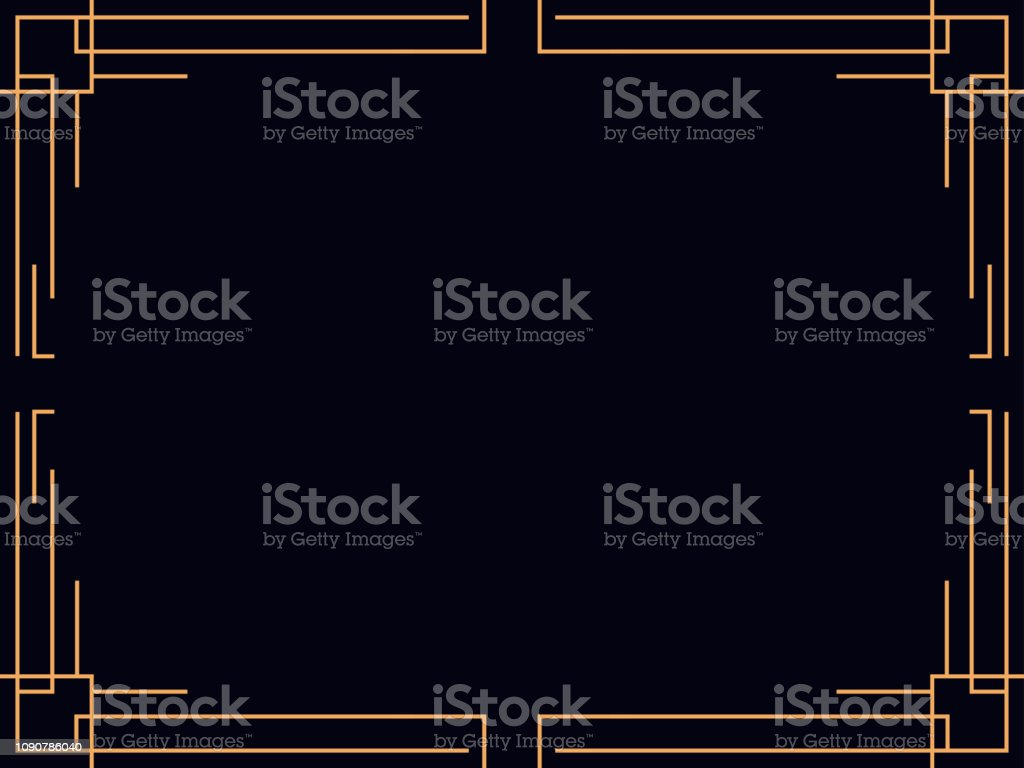 Art deco ram. Vintage linjär gränsen. Designa en mall för inbjudningar, broschyrer och gratulationskort. Stil 1920-1930-talet. Vektorillustration vektorkonstillustration
