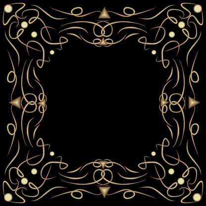 Art deco frame with embossed patterns on black background, filigree decorative border, vintage decoration with curly curves, blank area for own text
