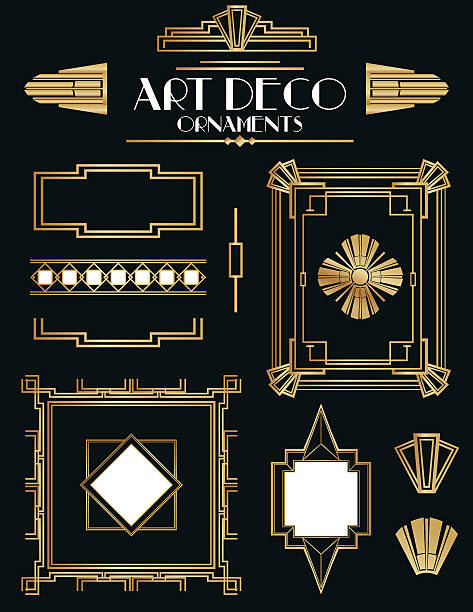 art deco frames and ornament set - 1920s style stock illustrations, clip art, cartoons, & icons