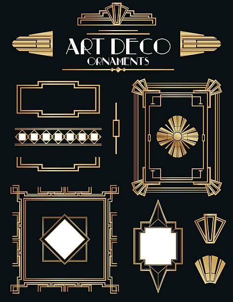 Art Deco Frames and Ornament Set vector art illustration