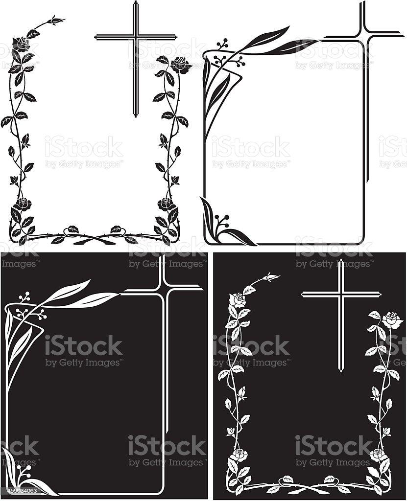 Art Deco frames for obituary or memory plaques vector art illustration