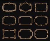 Art deco frames set, decorative border ornament. Bold outlines, geometric and zigzag forms. Vector illustration on black background