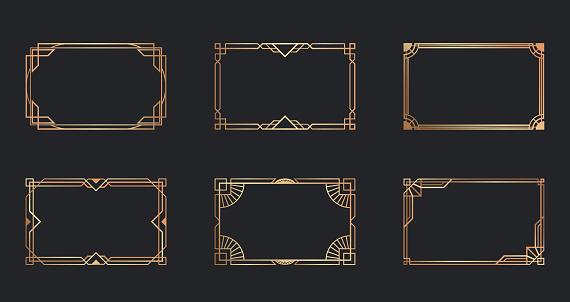 Art deco golden frames set