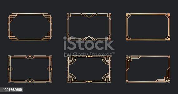 Art deco golden frames set. Line gold decorative borders isolated on black background. Vector illustration for vintage, decoration, antique design concept
