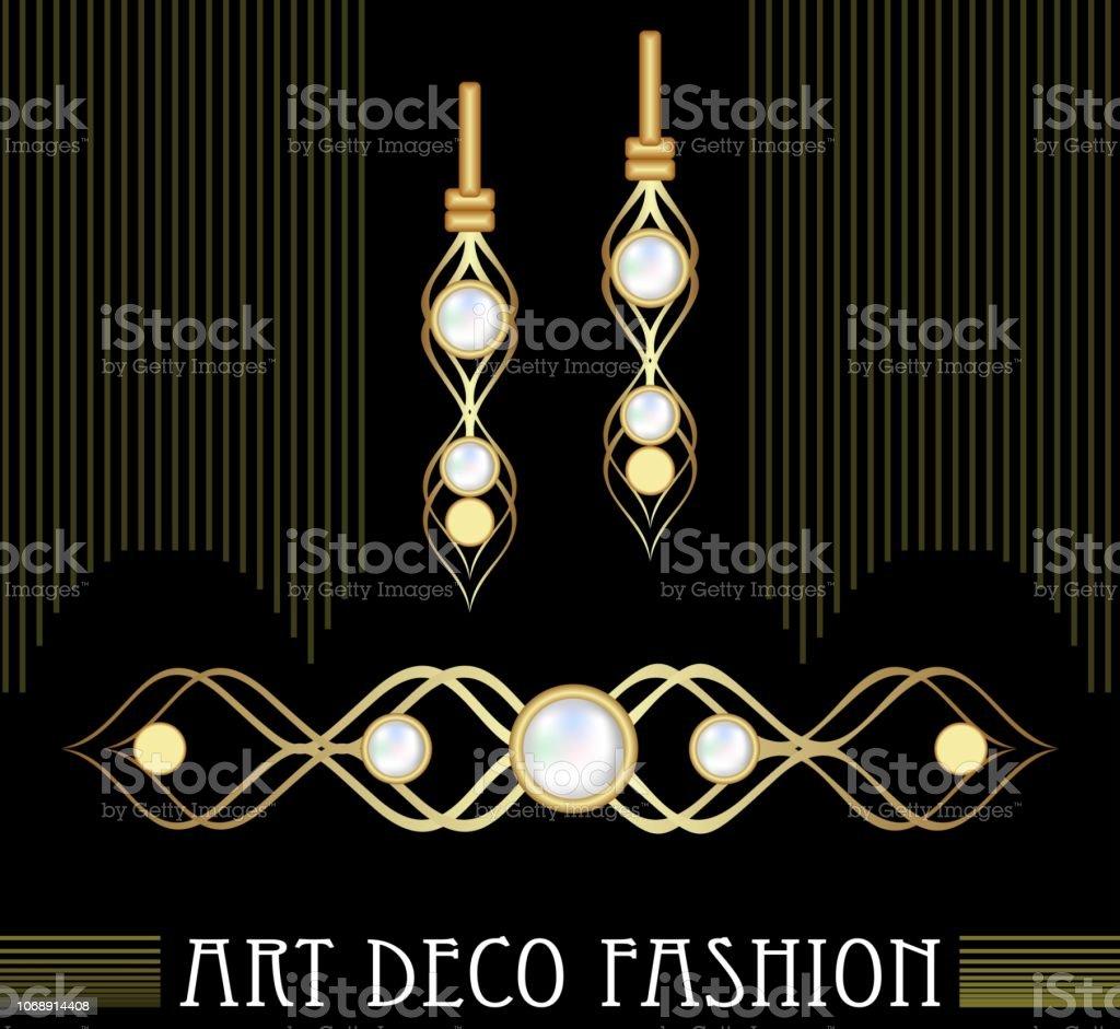 Artdecogoldenen Juwel Set Ohrringe Und Brosche Mit Teuren Perlen Schönen Viktorianischen Schmuck Stock Vektor Art und mehr Bilder von Accessoires