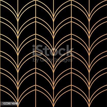 istock Art Deco Golden palmette seamless vector pattern 1023674546