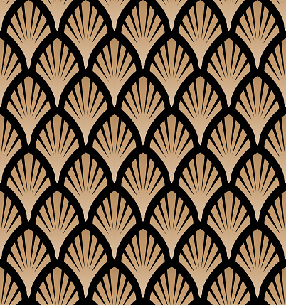 Art deco, great gatsby vector pattern with golden fans.  Seamless pattern.