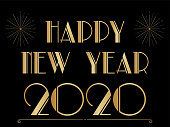 Art deco style Happy New Year banner with copy space. Black and gold design.