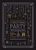 Vector illustration of a Art deco Holiday Christmas Party Invitation Design Template with line art icons stock illustration. Metallic gold color. Easy to edit with layers. EPS 10.