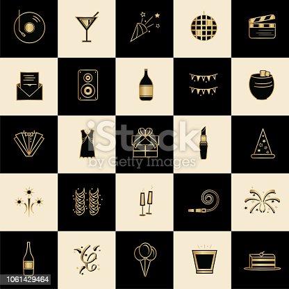Art deco style icon set. Black and Gold design.