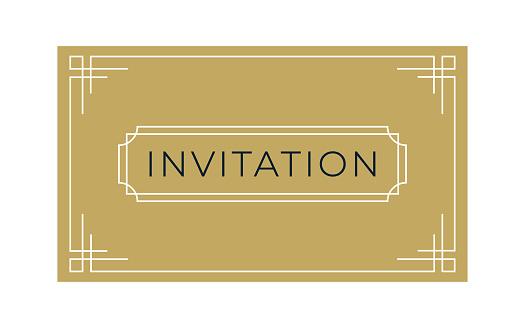 Art Deco Invitation & Gift Card Template (Live Stroke Path)