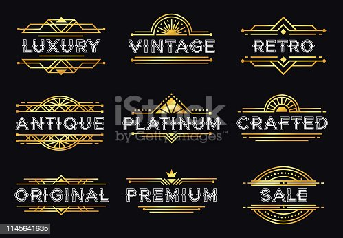 Art deco label. Retro luxury geometric ornaments, vintage ornament frame and hipster decorative lines labels. Elegant invitation or luxury gatsby deco badge. Isolated vector illustration icons set
