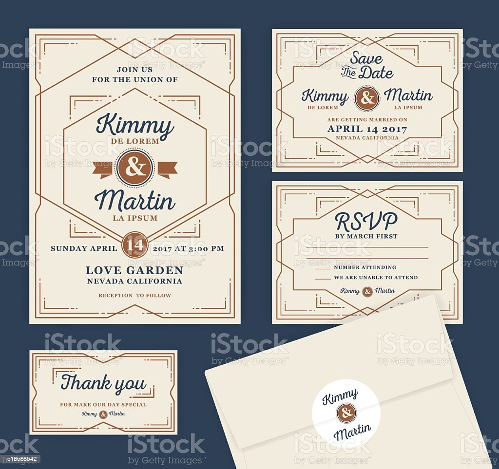 Art Deco Letterpress Wedding Invitation Design Template vector art illustration