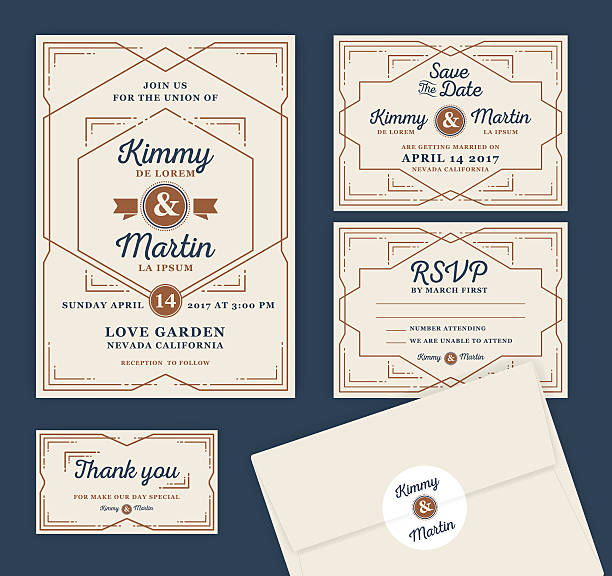 Art Deco Letterpress Wedding Invitation Design Template vector art illustration