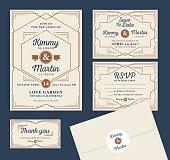 Art Deco Letterpress Wedding Invitation Design Template