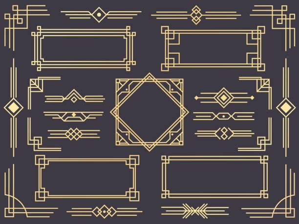 藝術裝飾線邊框。現代阿拉伯金框, 裝飾線邊框和幾何金色標籤框架向量設計項目 - 有邊框的 幅插畫檔、美工圖案、卡通及圖標