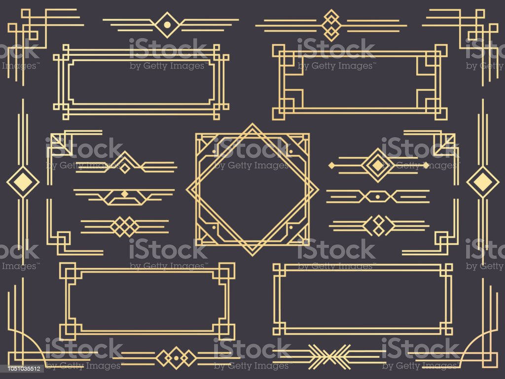 Art deco line border. Modern arabic gold frames, decorative lines borders and geometric golden label frame vector design elements vector art illustration