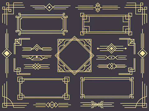 Art Deco Line Border Modern Arabic Gold Frames Decorative Lines Borders And Geometric Golden Label Frame Vector Design Elements — стоковая векторная графика и другие изображения на тему 1920
