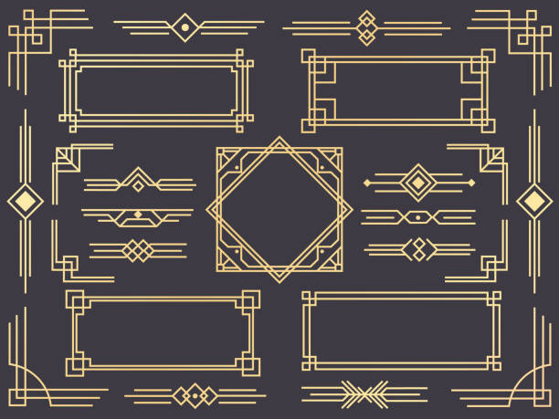 ilustrações de stock, clip art, desenhos animados e ícones de art deco line border. modern arabic gold frames, decorative lines borders and geometric golden label frame vector design elements - enfeitado