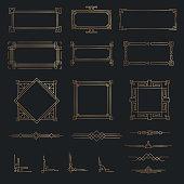 Art deco line gold border set in vector
